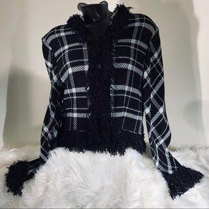 St John Black/light blue fringe trim jacket size16
